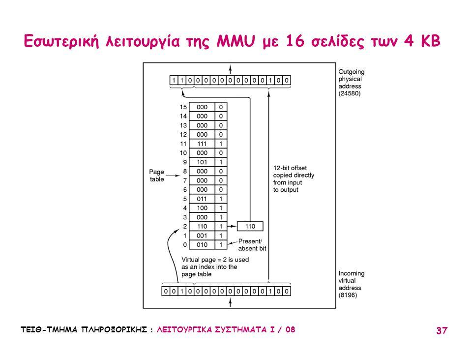 ΤΕΙΘ-ΤΜΗΜΑ ΠΛΗΡΟΦΟΡΙΚΗΣ : ΛΕΙΤΟΥΡΓΙΚΑ ΣΥΣΤΗΜΑΤΑ Ι / 08 37 Εσωτερική λειτουργία της MMU με 16 σελίδες των 4 KB