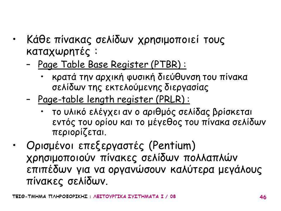 ΤΕΙΘ-ΤΜΗΜΑ ΠΛΗΡΟΦΟΡΙΚΗΣ : ΛΕΙΤΟΥΡΓΙΚΑ ΣΥΣΤΗΜΑΤΑ Ι / 08 46 Κάθε πίνακας σελίδων χρησιμοποιεί τους καταχωρητές : –Page Table Base Register (PTBR) : κρατ