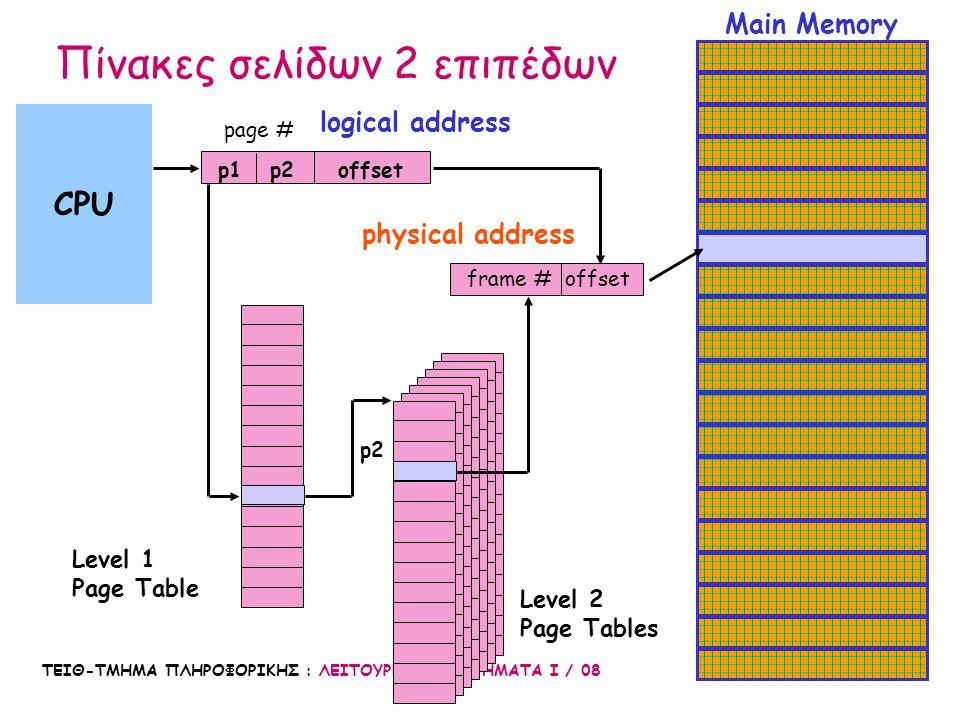 ΤΕΙΘ-ΤΜΗΜΑ ΠΛΗΡΟΦΟΡΙΚΗΣ : ΛΕΙΤΟΥΡΓΙΚΑ ΣΥΣΤΗΜΑΤΑ Ι / 08 49 Main Memory CPU logical address physical address Level 1 Page Table p1 p2offset frame #offse