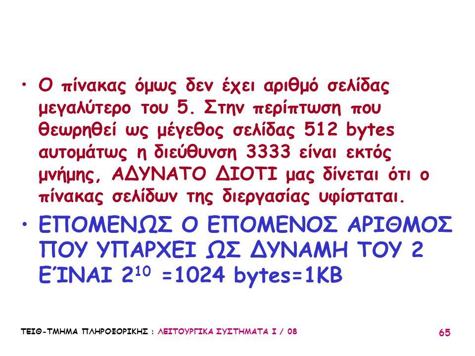 ΤΕΙΘ-ΤΜΗΜΑ ΠΛΗΡΟΦΟΡΙΚΗΣ : ΛΕΙΤΟΥΡΓΙΚΑ ΣΥΣΤΗΜΑΤΑ Ι / 08 65 Ο πίνακας όμως δεν έχει αριθμό σελίδας μεγαλύτερο του 5. Στην περίπτωση που θεωρηθεί ως μέγε