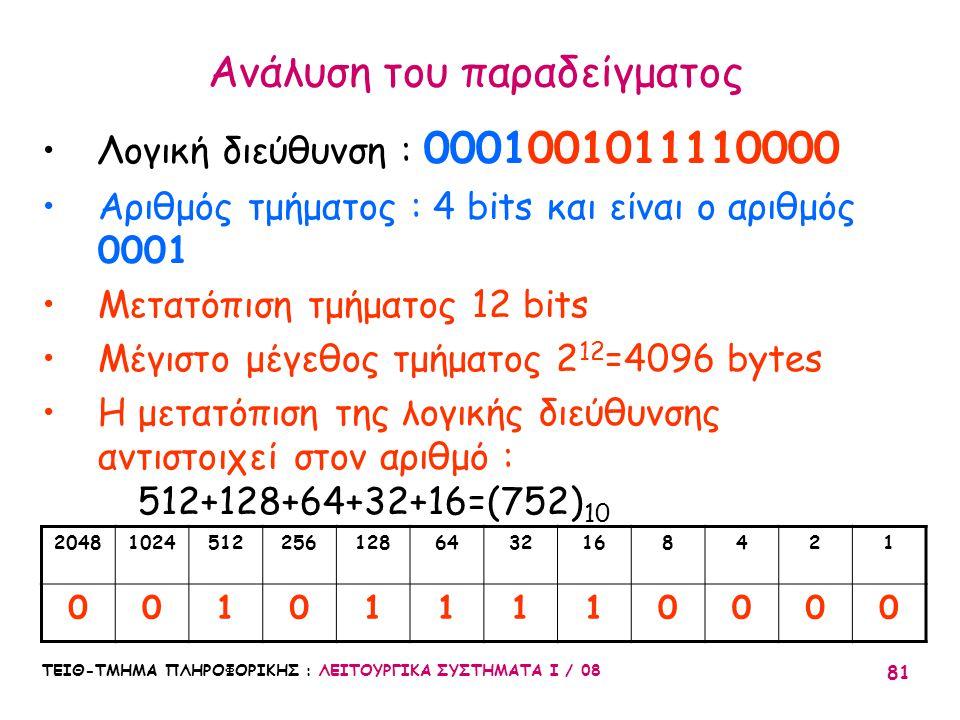 ΤΕΙΘ-ΤΜΗΜΑ ΠΛΗΡΟΦΟΡΙΚΗΣ : ΛΕΙΤΟΥΡΓΙΚΑ ΣΥΣΤΗΜΑΤΑ Ι / 08 81 Ανάλυση του παραδείγματος Λογική διεύθυνση : 0001001011110000 Αριθμός τμήματος : 4 bits και