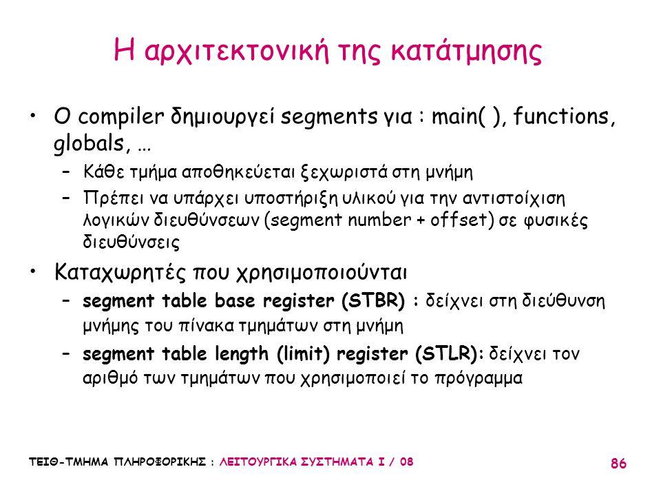 ΤΕΙΘ-ΤΜΗΜΑ ΠΛΗΡΟΦΟΡΙΚΗΣ : ΛΕΙΤΟΥΡΓΙΚΑ ΣΥΣΤΗΜΑΤΑ Ι / 08 86 Η αρχιτεκτονική της κατάτμησης Ο compiler δημιουργεί segments για : main( ), functions, glob