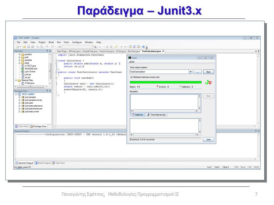 Παράδειγμα – Junit3.x 7Παναγιώτης Σφέτσος, Μεθοδολογίες Προγραμματισμού ΙΙ