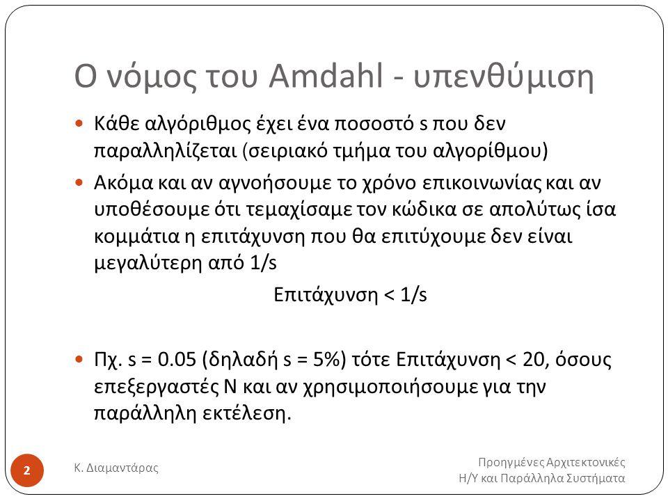 Ο νόμος του Amdahl - υπενθύμιση Προηγμένες Αρχιτεκτονικές Η / Υ και Παράλληλα Συστήματα Κ. Διαμαντάρας 2 Κάθε αλγόριθμος έχει ένα ποσοστό s που δεν πα