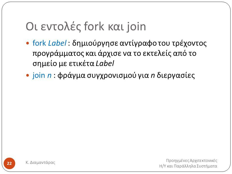 Οι εντολές fork και join Προηγμένες Αρχιτεκτονικές Η / Υ και Παράλληλα Συστήματα Κ. Διαμαντάρας 22 fork Label : δημιούργησε αντίγραφο του τρέχοντος πρ