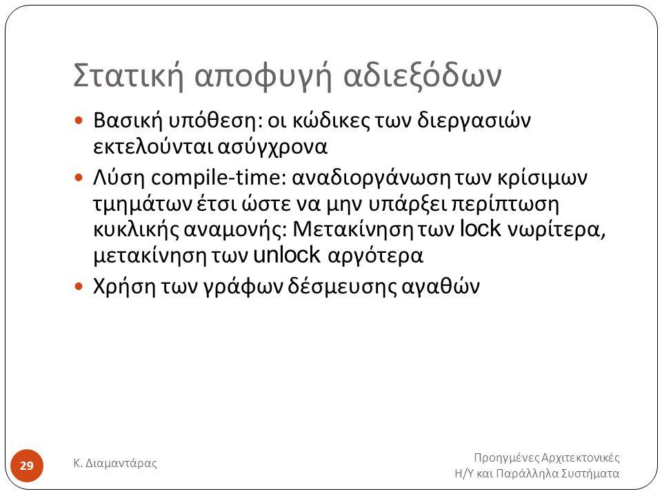 Στατική αποφυγή αδιεξόδων Προηγμένες Αρχιτεκτονικές Η / Υ και Παράλληλα Συστήματα Κ. Διαμαντάρας 29 Βασική υπόθεση: οι κώδικες των διεργασιών εκτελούν