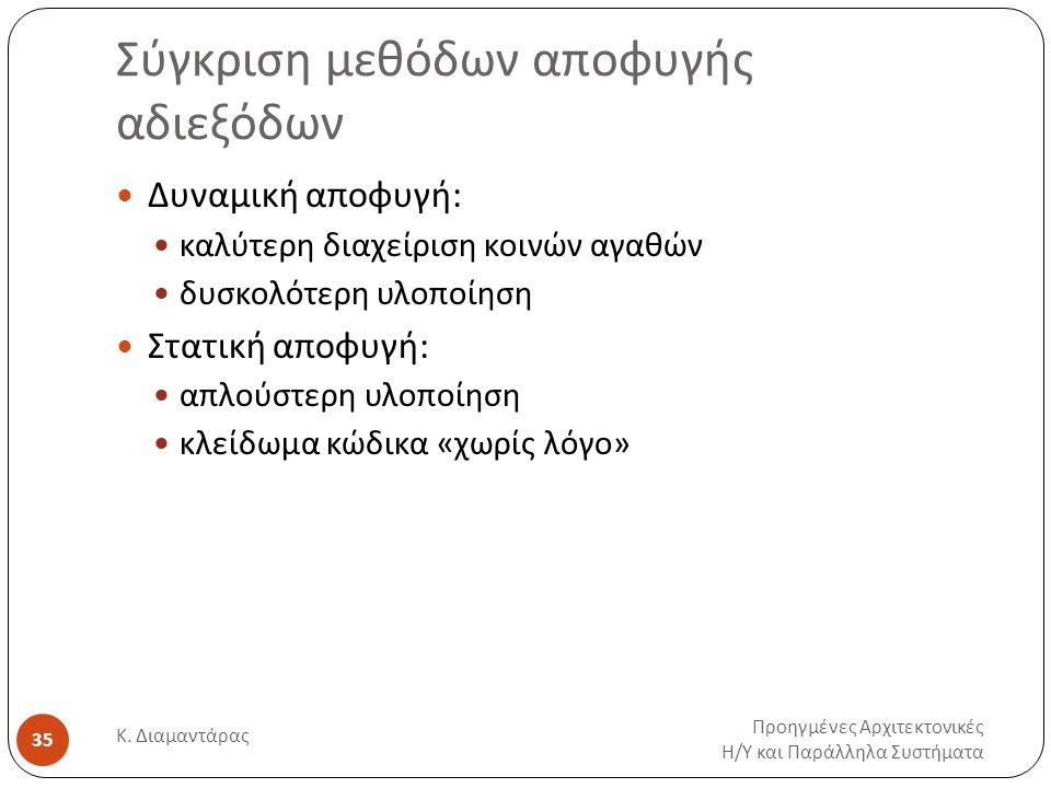 Σύγκριση μεθόδων αποφυγής αδιεξόδων Προηγμένες Αρχιτεκτονικές Η / Υ και Παράλληλα Συστήματα Κ. Διαμαντάρας 35 Δυναμική αποφυγή: καλύτερη διαχείριση κο
