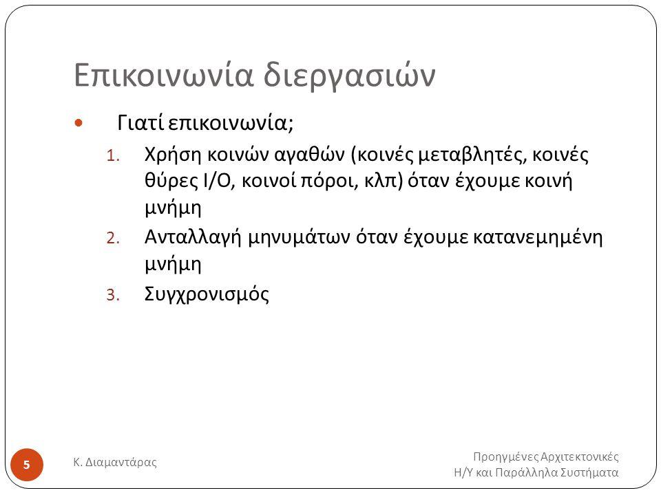 Επικοινωνία διεργασιών Προηγμένες Αρχιτεκτονικές Η / Υ και Παράλληλα Συστήματα Κ. Διαμαντάρας 5 Γιατί επικοινωνία; 1. Χρήση κοινών αγαθών (κοινές μετα