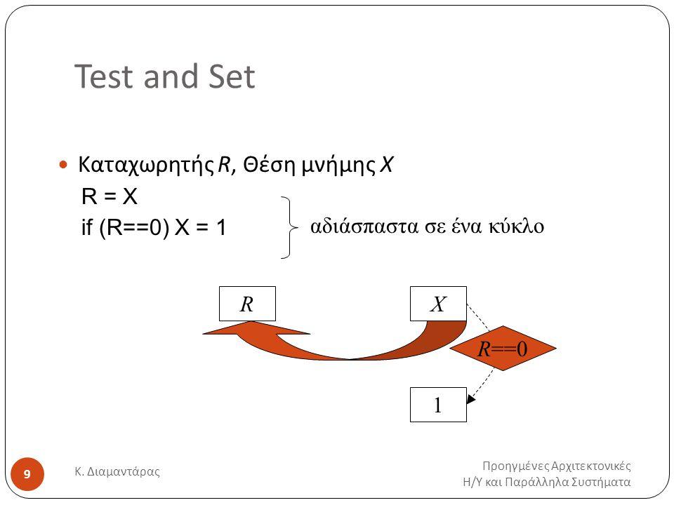 Test and Set Προηγμένες Αρχιτεκτονικές Η / Υ και Παράλληλα Συστήματα Κ. Διαμαντάρας 9 Καταχωρητής R, Θέση μνήμης X R = X if (R==0) X = 1 RX 1 R==0 αδι