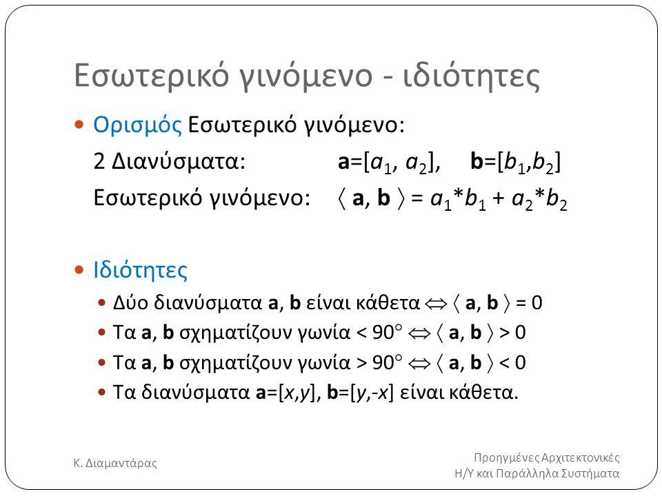 Εσωτερικό γινόμενο - ιδιότητες Προηγμένες Αρχιτεκτονικές Η/Υ και Παράλληλα Συστήματα Κ. Διαμαντάρας 17 Ορισμός Εσωτερικό γινόμενο: 2 Διανύσματα:a=[a 1