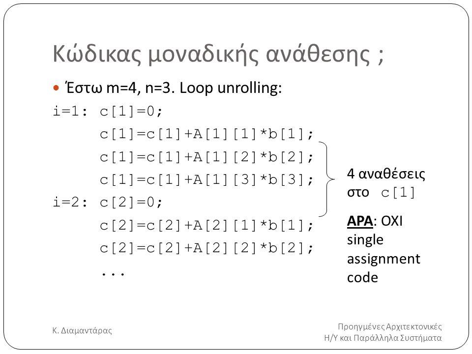 Κώδικας μοναδικής ανάθεσης ; Προηγμένες Αρχιτεκτονικές Η/Υ και Παράλληλα Συστήματα Κ. Διαμαντάρας 7 Έστω m=4, n=3. Loop unrolling: i=1:c[1]=0; c[1]=c[
