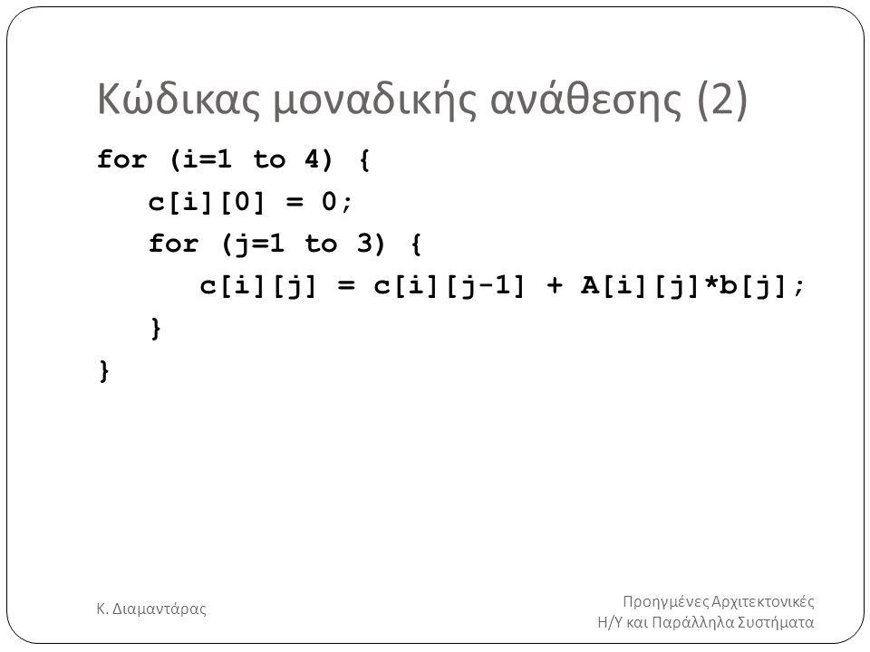 Κώδικας μοναδικής ανάθεσης (2) Προηγμένες Αρχιτεκτονικές Η/Υ και Παράλληλα Συστήματα Κ. Διαμαντάρας 9 for (i=1 to 4) { c[i][0] = 0; for (j=1 to 3) { c