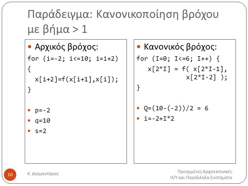Παράδειγμα: Κανονικοποίηση βρόχου με βήμα > 1 Προηγμένες Αρχιτεκτονικές Η/Υ και Παράλληλα Συστήματα Κ. Διαμαντάρας 10 Αρχικός βρόχος: for (i=-2; i<=10