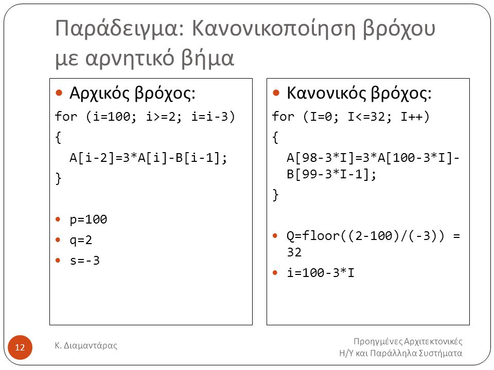 Παράδειγμα: Κανονικοποίηση βρόχου με αρνητικό βήμα Προηγμένες Αρχιτεκτονικές Η/Υ και Παράλληλα Συστήματα Κ. Διαμαντάρας 12 Αρχικός βρόχος: for (i=100;