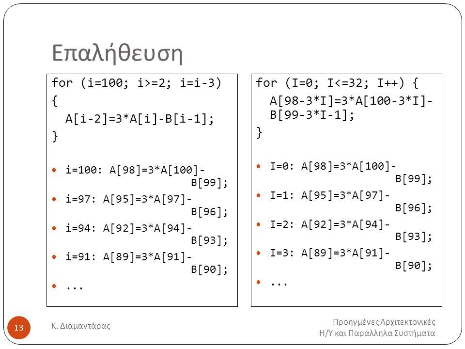 Επαλήθευση Προηγμένες Αρχιτεκτονικές Η/Υ και Παράλληλα Συστήματα Κ. Διαμαντάρας 13 for (i=100; i>=2; i=i-3) { A[i-2]=3*A[i]-B[i-1]; } i=100: A[98]=3*A