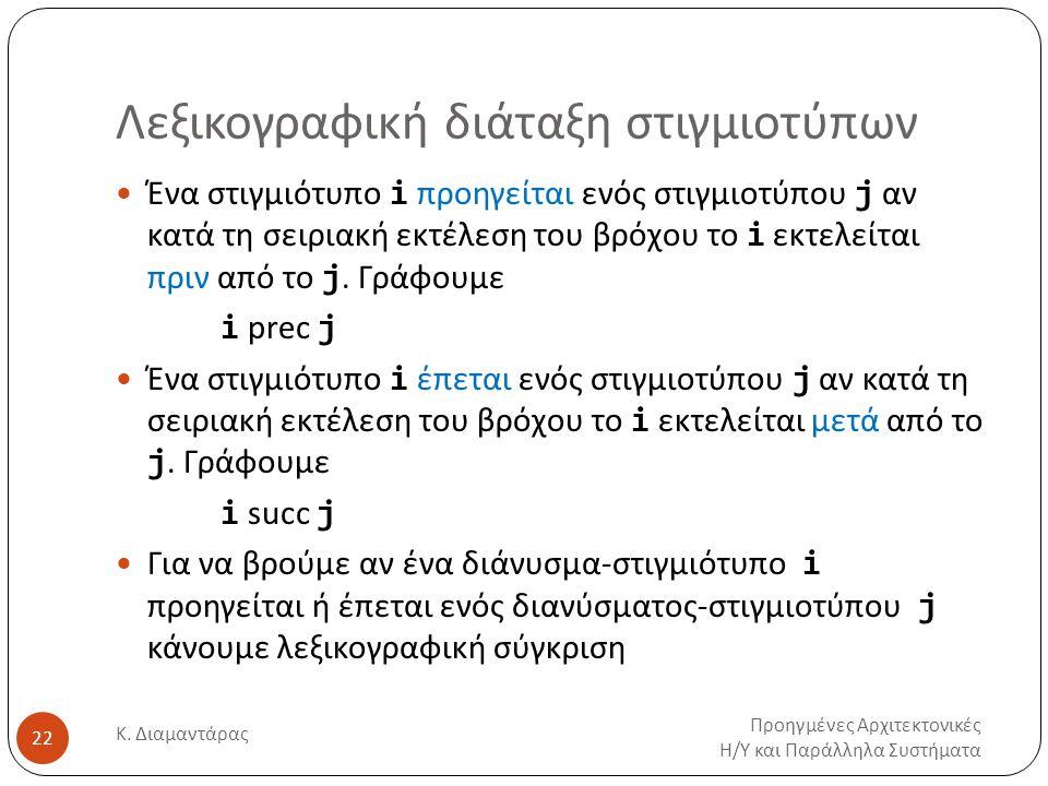 Λεξικογραφική διάταξη στιγμιοτύπων Προηγμένες Αρχιτεκτονικές Η/Υ και Παράλληλα Συστήματα Κ. Διαμαντάρας 22 Ένα στιγμιότυπο i προηγείται ενός στιγμιοτύ