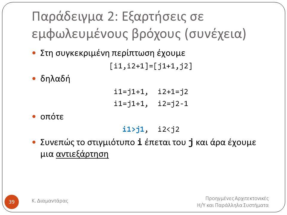 Παράδειγμα 2: Εξαρτήσεις σε εμφωλευμένους βρόχους (συνέχεια) Προηγμένες Αρχιτεκτονικές Η/Υ και Παράλληλα Συστήματα Κ. Διαμαντάρας 39 Στη συγκεκριμένη