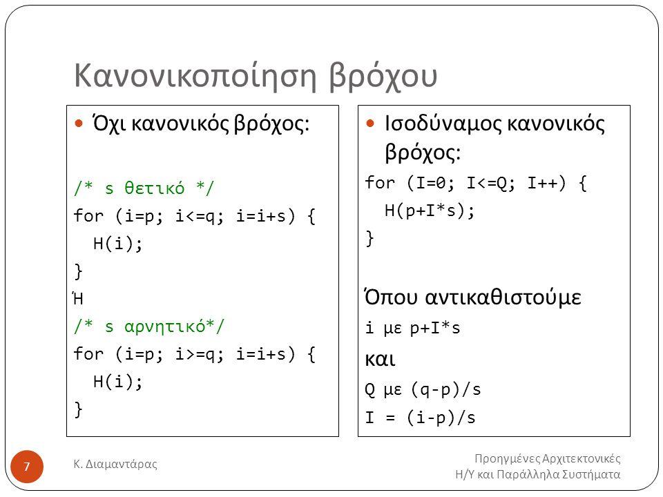 Κανονικοποίηση βρόχου Προηγμένες Αρχιτεκτονικές Η/Υ και Παράλληλα Συστήματα Κ. Διαμαντάρας 7 Όχι κανονικός βρόχος: /* s θετικό */ for (i=p; i<=q; i=i+