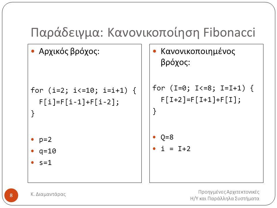 Παράδειγμα: Κανονικοποίηση Fibonacci Προηγμένες Αρχιτεκτονικές Η/Υ και Παράλληλα Συστήματα Κ. Διαμαντάρας 8 Αρχικός βρόχος: for (i=2; i<=10; i=i+1) {