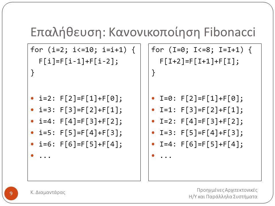Επαλήθευση: Κανονικοποίηση Fibonacci Προηγμένες Αρχιτεκτονικές Η/Υ και Παράλληλα Συστήματα Κ. Διαμαντάρας 9 for (i=2; i<=10; i=i+1) { F[i]=F[i-1]+F[i-