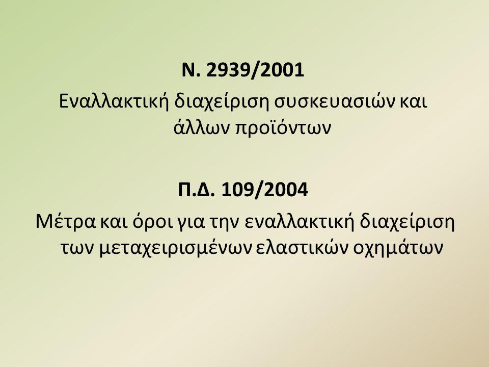 Ν. 2939/2001 Εναλλακτική διαχείριση συσκευασιών και άλλων προϊόντων Π.Δ. 109/2004 Μέτρα και όροι για την εναλλακτική διαχείριση των μεταχειρισμένων ελ