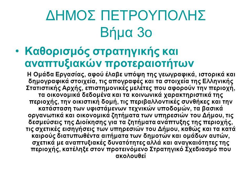 ΔΗΜΟΣ ΠΕΤΡΟΥΠΟΛΗΣ Βήμα 3ο Καθορισμός στρατηγικής και αναπτυξιακών προτεραιοτήτων Η Ομάδα Εργασίας, αφού έλαβε υπόψη της γεωγραφικά, ιστορικά και δημογ