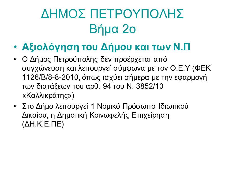 ΔΗΜΟΣ ΠΕΤΡΟΥΠΟΛΗΣ Βήμα 3ο Καθορισμός στρατηγικής και αναπτυξιακών προτεραιοτήτων Η Ομάδα Εργασίας, αφού έλαβε υπόψη της γεωγραφικά, ιστορικά και δημογραφικά στοιχεία, τις απογραφές και τα στοιχεία της Ελληνικής Στατιστικής Αρχής, επιστημονικές μελέτες που αφορούν την περιοχή, τα οικονομικά δεδομένα και τα κοινωνικά χαρακτηριστικά της περιοχής, την οικιστική δομή, τις περιβαλλοντικές συνθήκες και την κατάσταση των υφιστάμενων τεχνικών υποδομών, τα βασικά οργανωτικά και οικονομικά ζητήματα των υπηρεσιών του Δήμου, τις δεσμεύσεις της Διοίκησης για τα ζητήματα ανάπτυξης της περιοχής, τις σχετικές εισηγήσεις των υπηρεσιών του Δήμου, καθώς και τα κατά καιρούς διατυπωθέντα αιτήματα των δημοτών και ομάδων αυτών, σχετικά με αναπτυξιακές δυνατότητες αλλά και αναγκαιότητες της περιοχής, κατέληξε στον προτεινόμενο Στρατηγικό Σχεδιασμό που ακολουθεί