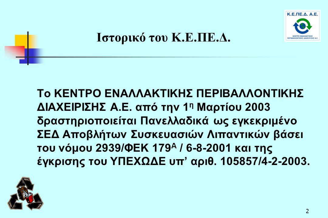 2 Ιστορικό του Κ.Ε.ΠΕ.Δ. Το ΚΕΝΤΡΟ ΕΝΑΛΛΑΚΤΙΚΗΣ ΠΕΡΙΒΑΛΛΟΝΤΙΚΗΣ ΔΙΑΧΕΙΡΙΣΗΣ Α.Ε. από την 1 η Μαρτίου 2003 δραστηριοποιείται Πανελλαδικά ως εγκεκριμένο
