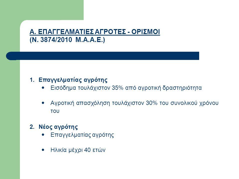 Α. ΕΠΑΓΓΕΛΜΑΤΙΕΣ ΑΓΡΟΤΕΣ - ΟΡΙΣΜΟΙ (Ν. 3874/2010 Μ.Α.Α.Ε.) 1.Επαγγελματίας αγρότης  Εισόδημα τουλάχιστον 35% από αγροτική δραστηριότητα  Αγροτική απ