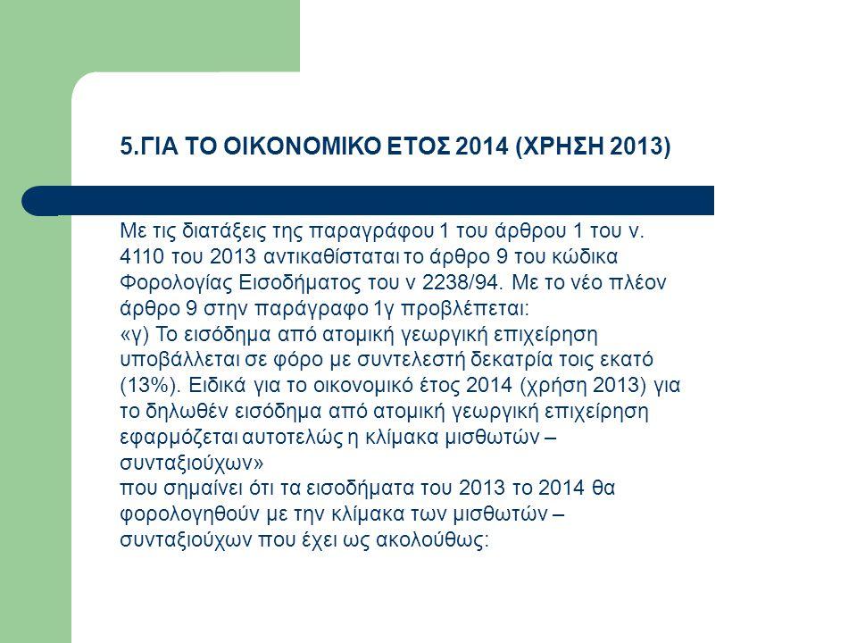 5.ΓΙΑ ΤΟ ΟΙΚΟΝΟΜΙΚΟ ΕΤΟΣ 2014 (ΧΡΗΣΗ 2013) Με τις διατάξεις της παραγράφου 1 του άρθρου 1 του ν. 4110 του 2013 αντικαθίσταται το άρθρο 9 του κώδικα Φο