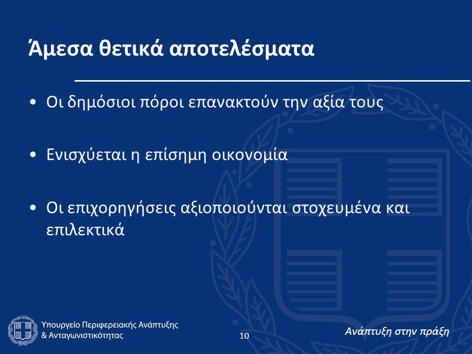 Ανάπτυξη στην πράξη 10 Άμεσα θετικά αποτελέσματα Οι δημόσιοι πόροι επανακτούν την αξία τους Ενισχύεται η επίσημη οικονομία Οι επιχορηγήσεις αξιοποιούνται στοχευμένα και επιλεκτικά