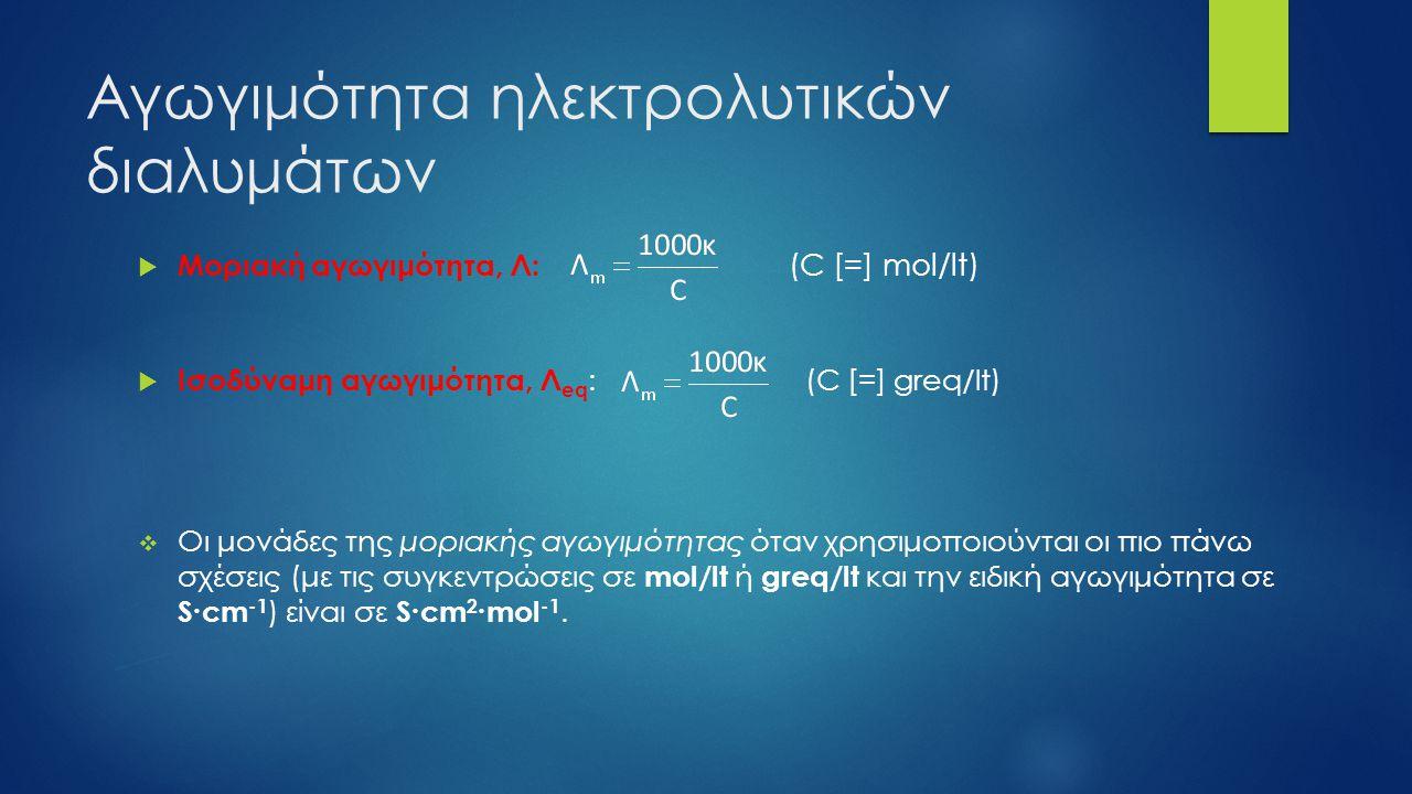 Αγωγιμότητα ηλεκτρολυτικών διαλυμάτων  Μοριακή αγωγιμότητα, Λ: (C [=] mol/lt)  Ισοδύναμη αγωγιμότητα, Λ eq : (C [=] greq/lt)  Οι μονάδες της μοριακ
