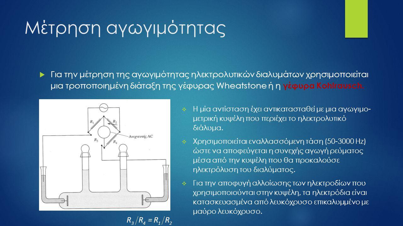 Μέτρηση αγωγιμότητας  Τύποι αγωγιμομετρικών κυψελών