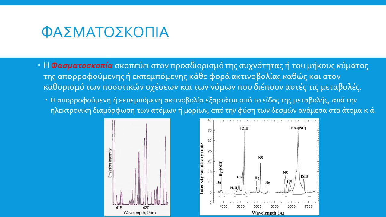 ΦΑΣΜΑΤΟΣΚΟΠΙΑ  Η Φασματοσκοπία σκοπεύει στον προσδιορισμό της συχνότητας ή του μήκους κύματος της απορροφούμενης ή εκπεμπόμενης κάθε φορά ακτινοβολία