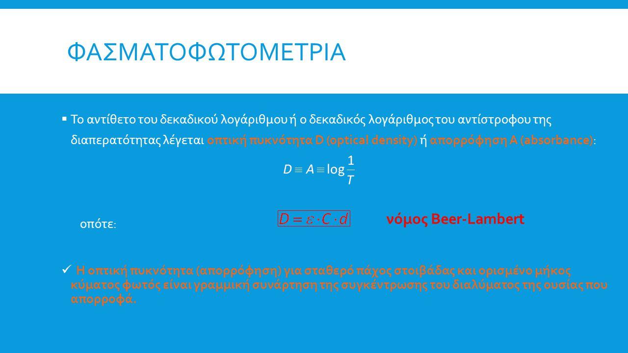 ΦΑΣΜΑΤΟΦΩΤΟΜΕΤΡΙΑ  Το αντίθετο του δεκαδικού λογάριθμου ή ο δεκαδικός λογάριθμος του αντίστροφου της διαπερατότητας λέγεται οπτική πυκνότητα D (optic