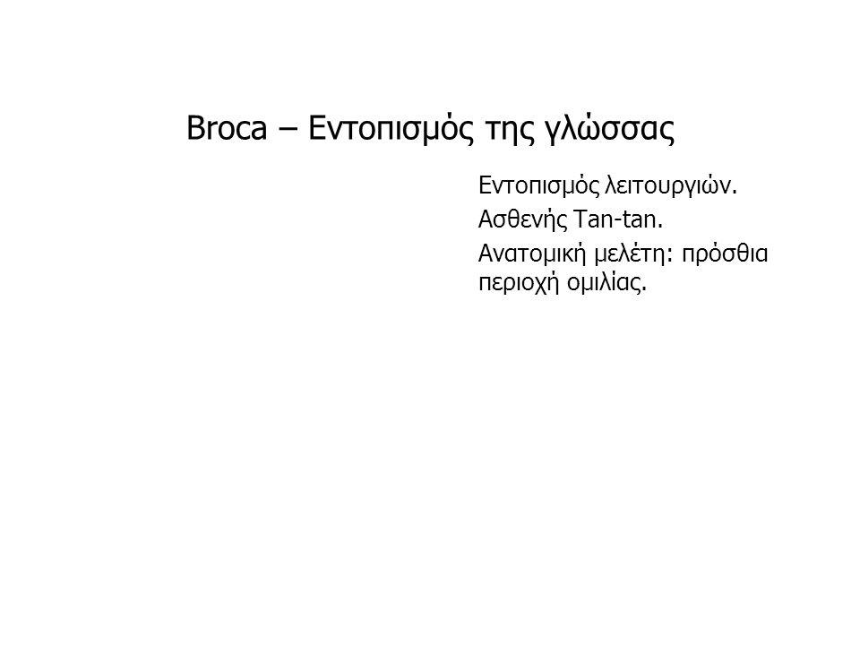 Broca – Εντοπισμός της γλώσσας Εντοπισμός λειτουργιών. Ασθενής Tan-tan. Ανατομική μελέτη: πρόσθια περιοχή ομιλίας.