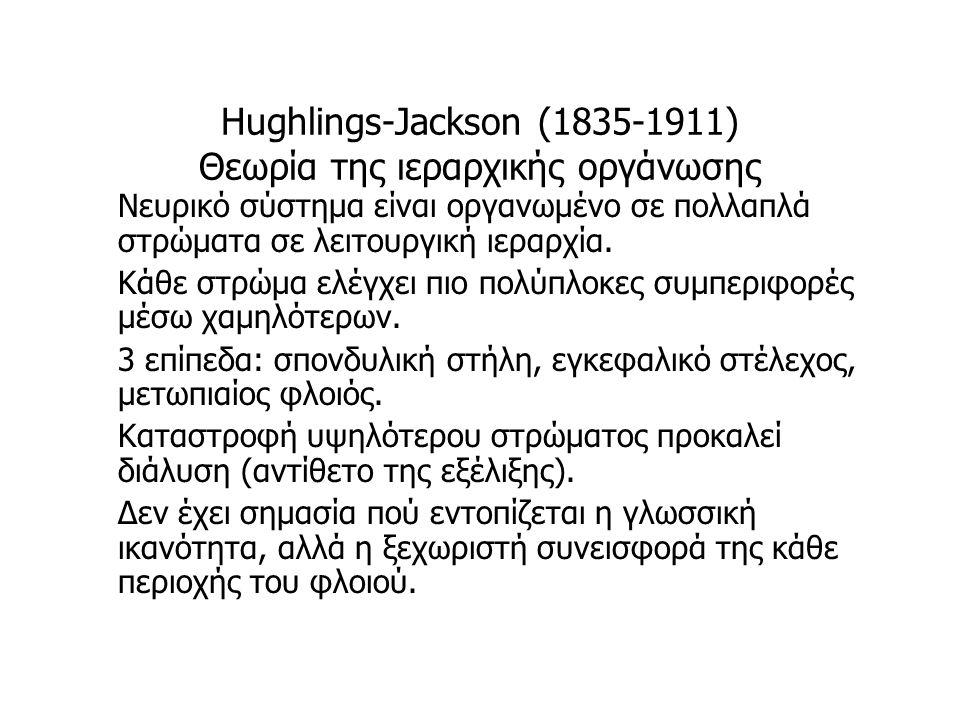 Hughlings-Jackson (1835-1911) Θεωρία της ιεραρχικής οργάνωσης Νευρικό σύστημα είναι οργανωμένο σε πολλαπλά στρώματα σε λειτουργική ιεραρχία. Κάθε στρώ
