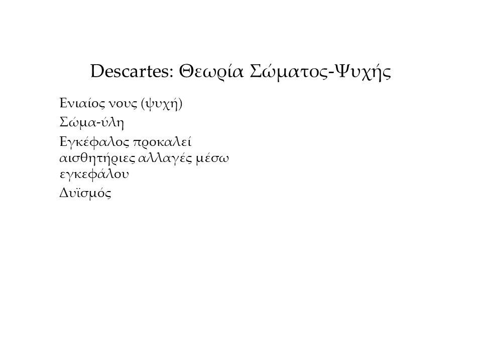 Descartes: Θεωρία Σώματος-Ψυχής Ενιαίος νους (ψυχή) Σώμα-ύλη Εγκέφαλος προκαλεί αισθητήριες αλλαγές μέσω εγκεφάλου Δυϊσμός