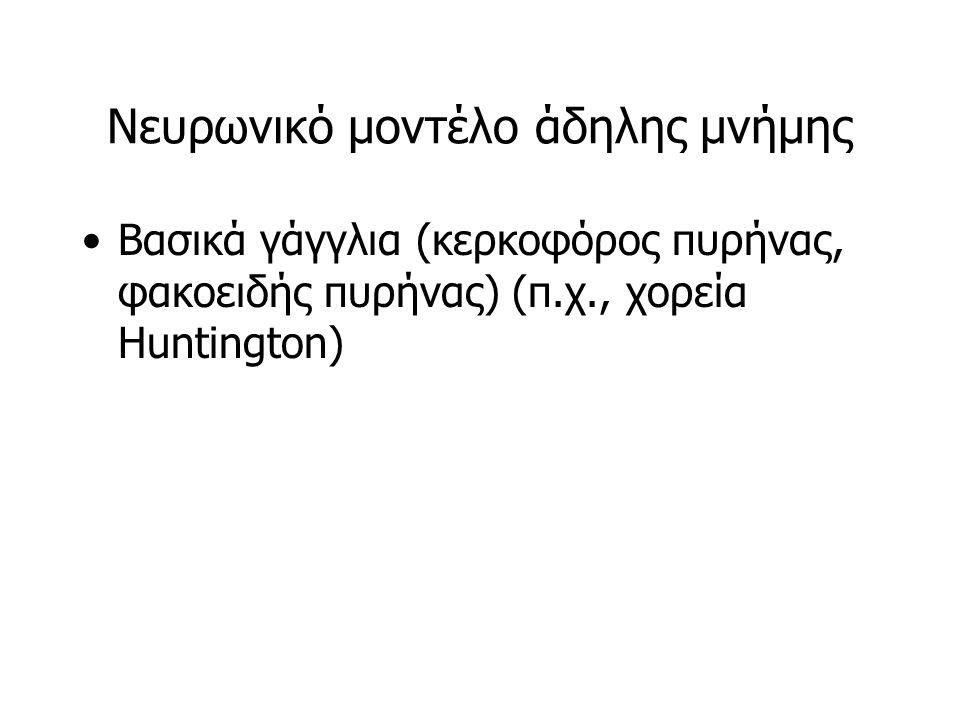 Νευρωνικό μοντέλο άδηλης μνήμης Βασικά γάγγλια (κερκοφόρος πυρήνας, φακοειδής πυρήνας) (π.χ., χορεία Huntington)