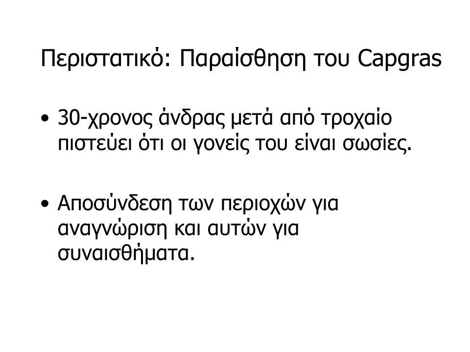 Περιστατικό: Παραίσθηση του Capgras 30-χρονος άνδρας μετά από τροχαίο πιστεύει ότι οι γονείς του είναι σωσίες.
