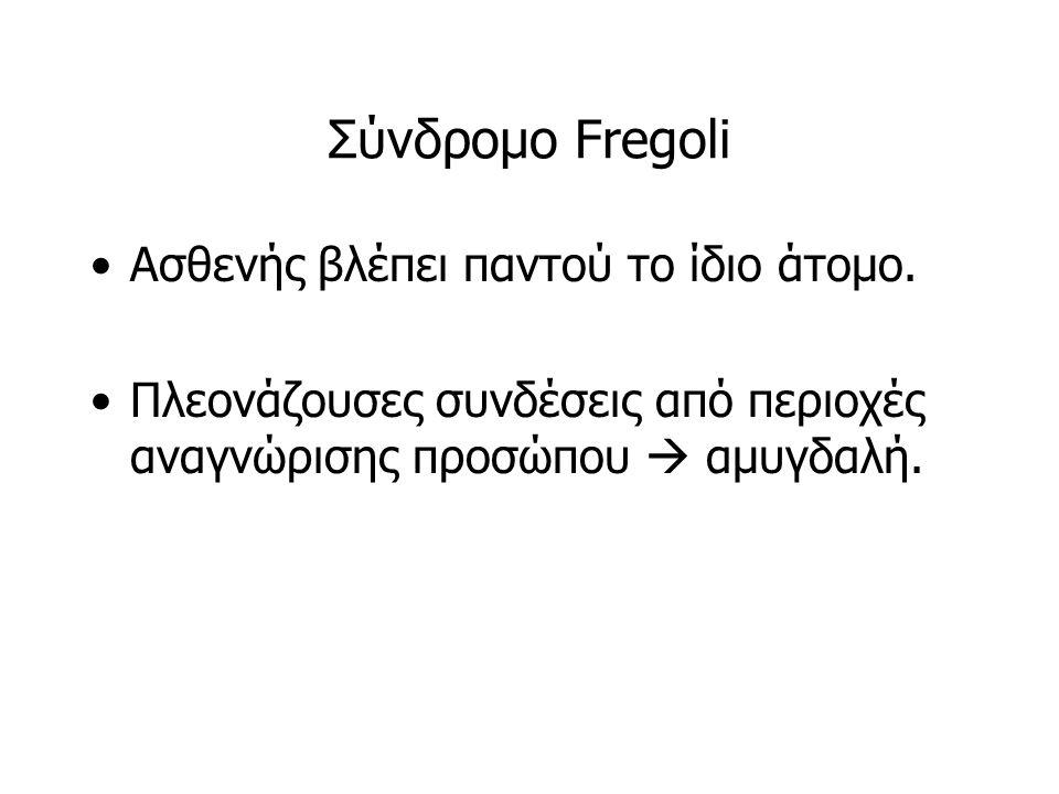 Σύνδρομο Fregoli Ασθενής βλέπει παντού το ίδιο άτομο. Πλεονάζουσες συνδέσεις από περιοχές αναγνώρισης προσώπου  αμυγδαλή.