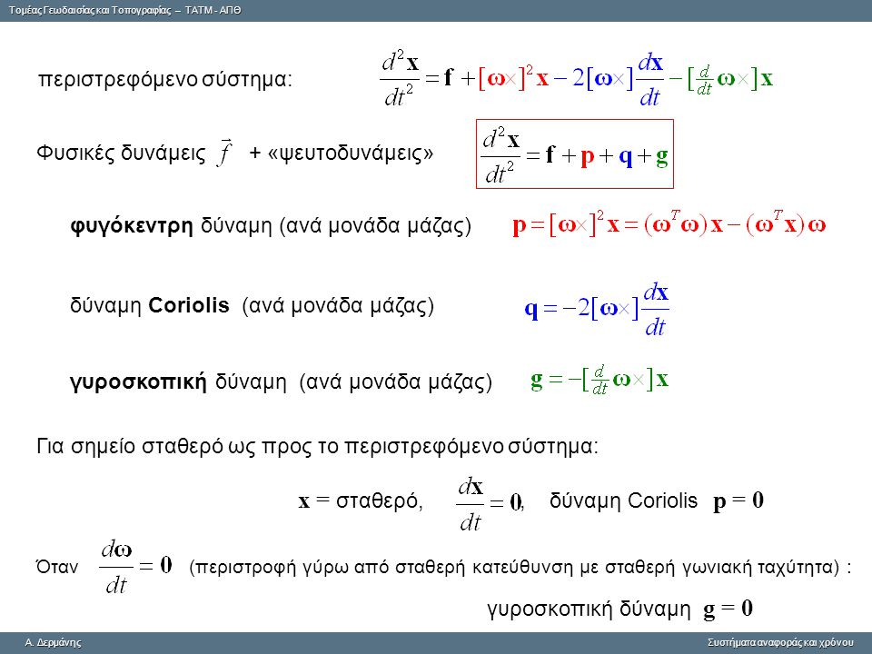Tομέας Γεωδαισίας και Τοπογραφίας – ΤΑΤΜ - ΑΠΘ A. ΔερμάνηςΣυστήματα αναφοράς και χρόνου A. Δερμάνης Συστήματα αναφοράς και χρόνου περιστρεφόμενο σύστη