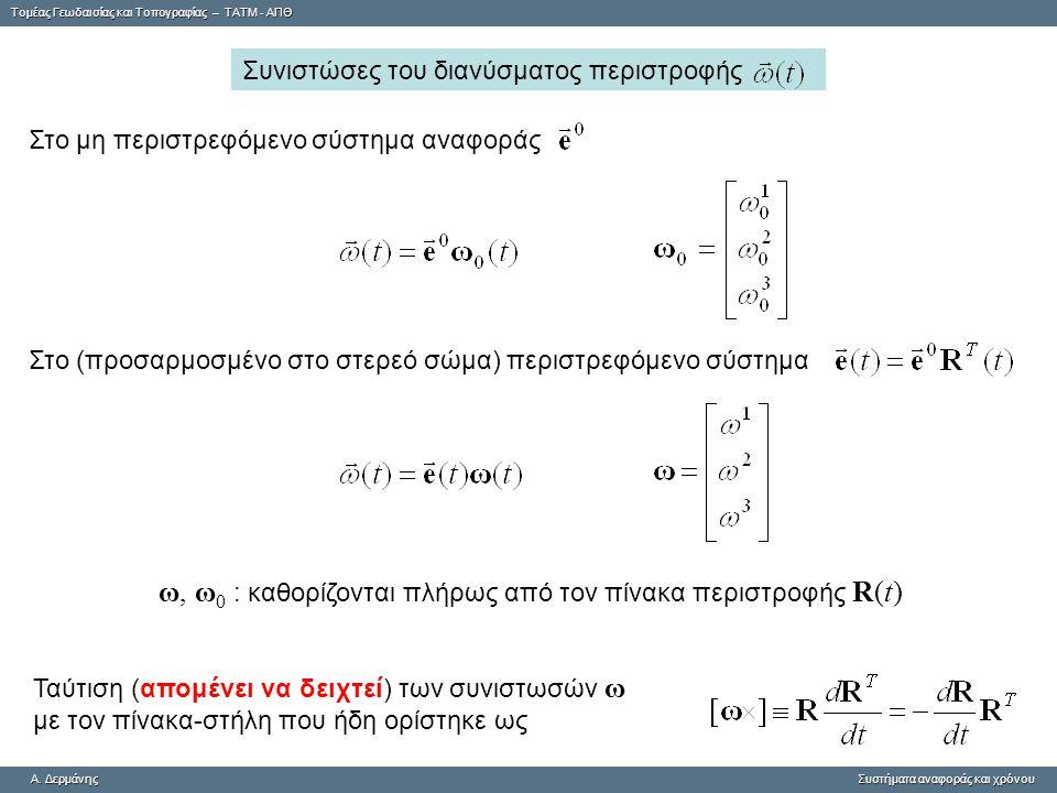 Tομέας Γεωδαισίας και Τοπογραφίας – ΤΑΤΜ - ΑΠΘ A. ΔερμάνηςΣυστήματα αναφοράς και χρόνου A. Δερμάνης Συστήματα αναφοράς και χρόνου Στο μη περιστρεφόμεν