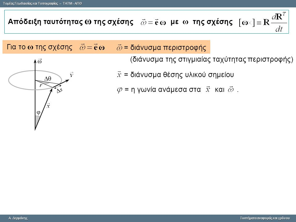 Tομέας Γεωδαισίας και Τοπογραφίας – ΤΑΤΜ - ΑΠΘ A. ΔερμάνηςΣυστήματα αναφοράς και χρόνου A. Δερμάνης Συστήματα αναφοράς και χρόνου Για το ω της σχέσης