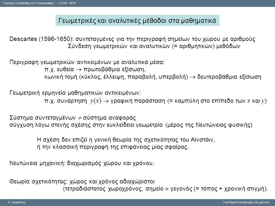 Tομέας Γεωδαισίας και Τοπογραφίας – ΤΑΤΜ - ΑΠΘ A. ΔερμάνηςΣυστήματα αναφοράς και χρόνου A. Δερμάνης Συστήματα αναφοράς και χρόνου Γεωμετρικές και αναλ