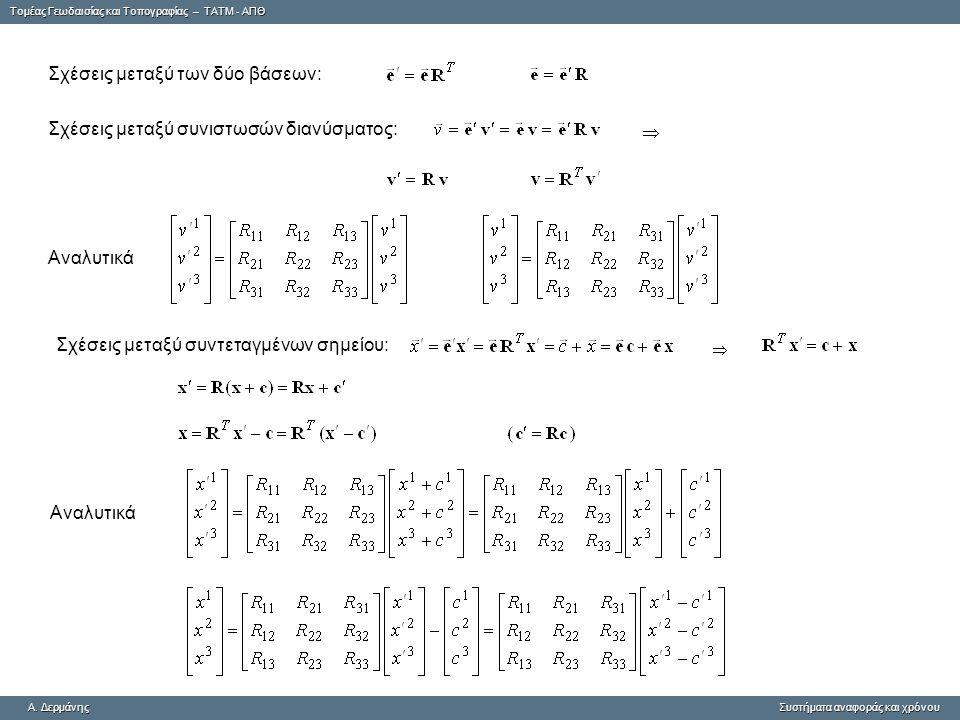 Tομέας Γεωδαισίας και Τοπογραφίας – ΤΑΤΜ - ΑΠΘ A. ΔερμάνηςΣυστήματα αναφοράς και χρόνου A. Δερμάνης Συστήματα αναφοράς και χρόνου Αναλυτικά Σχέσεις με