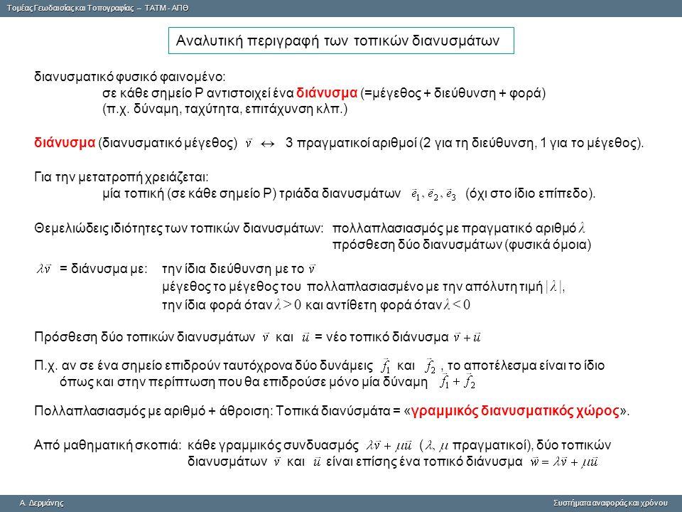 Tομέας Γεωδαισίας και Τοπογραφίας – ΤΑΤΜ - ΑΠΘ A. ΔερμάνηςΣυστήματα αναφοράς και χρόνου A. Δερμάνης Συστήματα αναφοράς και χρόνου Αναλυτική περιγραφή