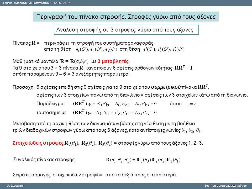 Tομέας Γεωδαισίας και Τοπογραφίας – ΤΑΤΜ - ΑΠΘ A. ΔερμάνηςΣυστήματα αναφοράς και χρόνου A. Δερμάνης Συστήματα αναφοράς και χρόνου Περιγραφή του πίνακα