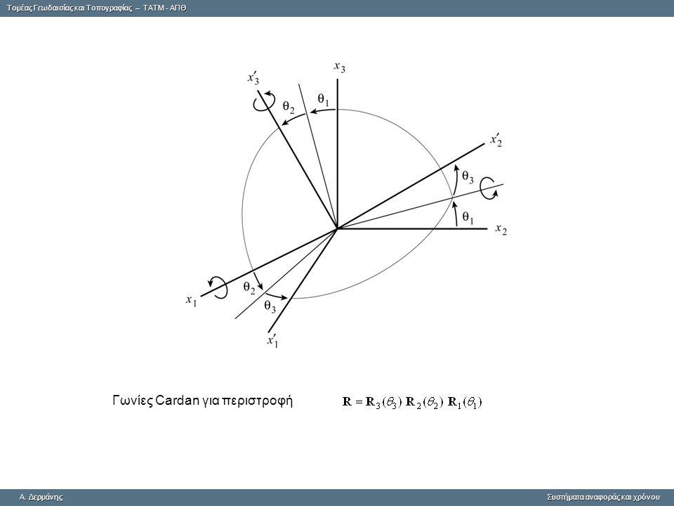 Tομέας Γεωδαισίας και Τοπογραφίας – ΤΑΤΜ - ΑΠΘ A. ΔερμάνηςΣυστήματα αναφοράς και χρόνου A. Δερμάνης Συστήματα αναφοράς και χρόνου Γωνίες Cardan για πε