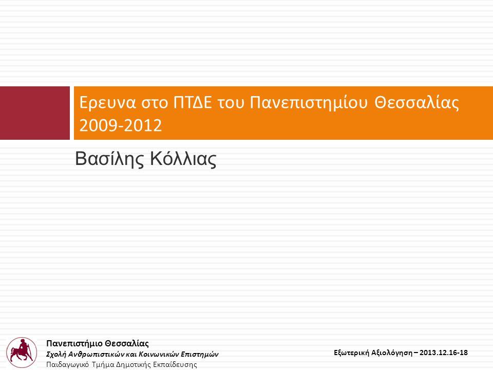 Πανεπιστήμιο Θεσσαλίας Σχολή Ανθρωπιστικών και Κοινωνικών Επιστημών Παιδαγωγικό Τμήμα Δημοτικής Εκπαίδευσης Εξωτερική Αξιολόγηση – 2013.12.16-18 Βασίλης Κόλλιας Ερευνα στο ΠΤΔΕ του Πανεπιστημίου Θεσσαλίας 2009-2012